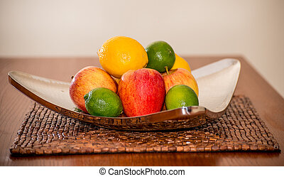 Assorted fruits on a silver platter