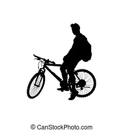 man with a backpack on a bicycle - Silhouette of man with a...