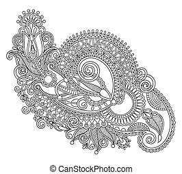 original hand draw line art ornate flower design. Ukrainian...