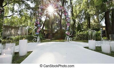 Decorated wedding arch sun