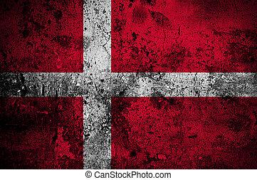 grunge flag of Denmark with capital in Copenhagen