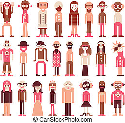People icons - People - isolated vector icons on white...
