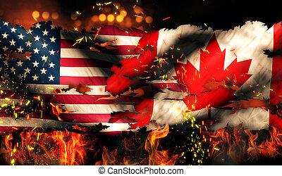 USA Canada National Flag War Torn Fire International Conflict 3D