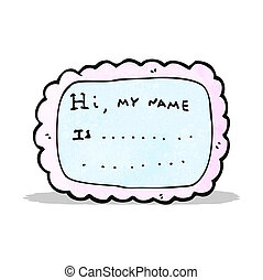 cartoon name tag