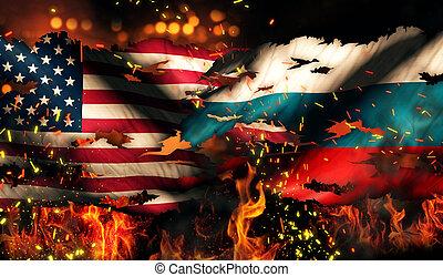 USA Russia National Flag War Torn Fire International...