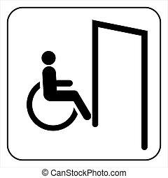 Door for invalid sign, vector
