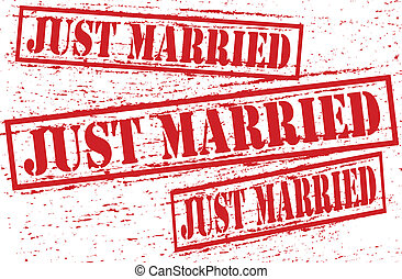 Just married - Set of stamps with text just married inside,...