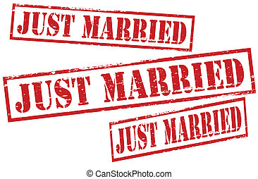 Set of stamps with text just married inside, vector...