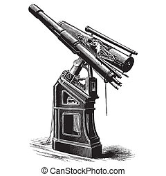 Equatorial telescope - Ancient style engraving of a large...