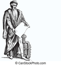 Old man holding paper - Ancient style engraving of an old...