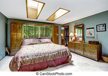 Luxury bedroom interior with skylights - Luxury bedroom...