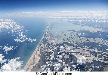 Yucatan Mexico Coast Aerial - Aerial of the Yucatan coast in...