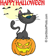 Halloween Black Cat With Text