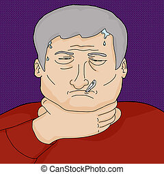 Sick with Fever - Man with infection holding throat and...