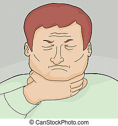 Male with Sore Throat - Red head European man with sore...