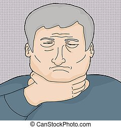 Man with Sore Throat - Sad Caucasian senior man holding his...