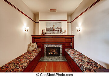 Sitting area with fireplace in old luxury house