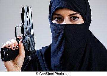 muçulmano, femininas, terrorista, segurando, Handgun