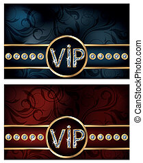 Two diamond VIP card, vector illustration