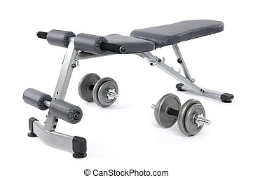 Exercise Bench - Exercise bench and dumbbells. Gym equipment...