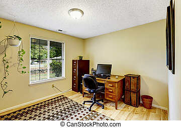 Ivory office room with brown furniture set - Bright ivory...