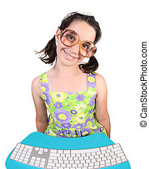 Girl Wearing Eyeglasses Using a Computer