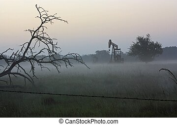 Pumpjack in Fog - Pump jack in Fog