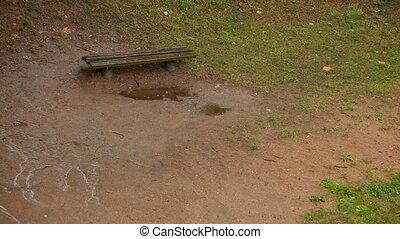 Raining in park