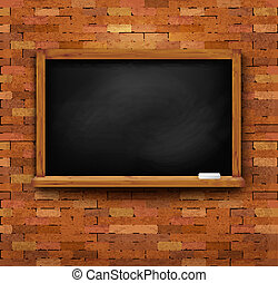 Brick wall with a blackboard. Vector.