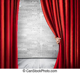 Background with red velvet curtain and hand. Vector.