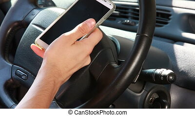 Texting with a smart phone in car