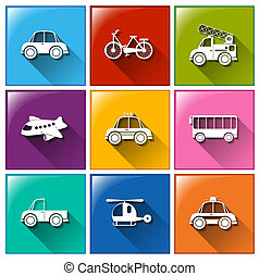 Icons with the different transportations - Illustration of...