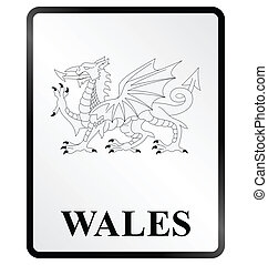 Wales Sign - Monochrome Wales public information sign...