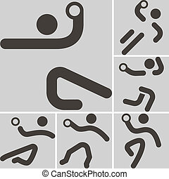 handball icons - Summer sports icons set - set of handball...