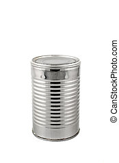 Silver tin can - Silver aluminum tin can on a white...