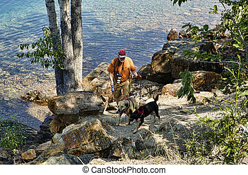 Active Senior Walking Dogs - Active senior man walking his...