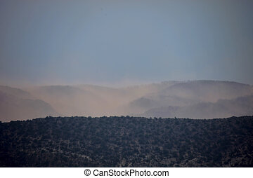 Wildfire Aftermath - Thick acrid smoke blankets landscape...
