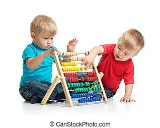 crianças, tocando, coloridos, ábaco, ou,...