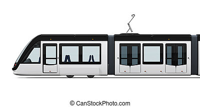 Modern Tram Isolated - Modern Tram isolated on white...
