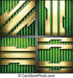 Vector green background with gold