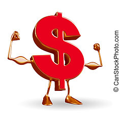 Dollar Character with body building pose - Cartoon Character...