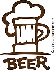 Sign of mug with beer contours silhouette. Eps10 vector...