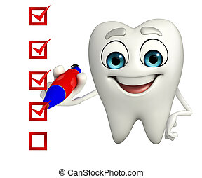 Teeth character with check mark