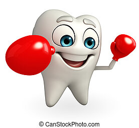 Teeth character with Boxing Gloves - Cartoon character of...