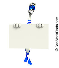 Toothbrush Character with sign - Cartoon Character of...