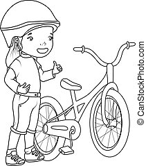 Coloring book: girl with bicycle