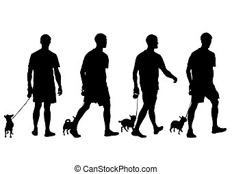 Man with dog - Silhouettes of man with a dog on a leash on a...