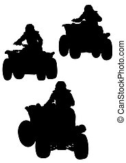 Silhouettes ATV - Silhouettes athletes ATV during races