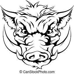 Boar mascot face - Drawing of a boar animal character or...