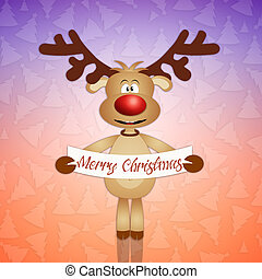 Merry Christmas - funny reindeer with wishes for a Merry...